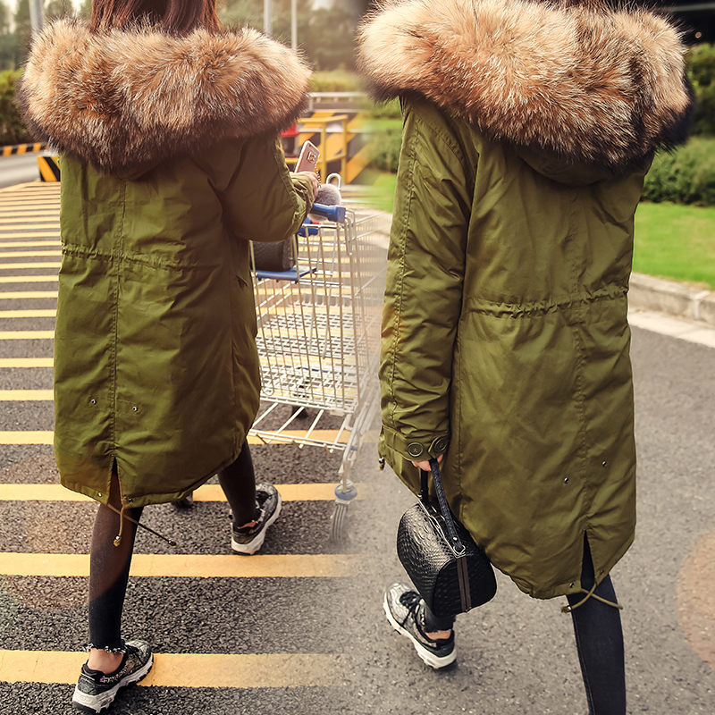 new 2017 women's windbreaker duck   down     coat   and jacket with a large geunie raccoon fur hood loose casual army green oversize xl