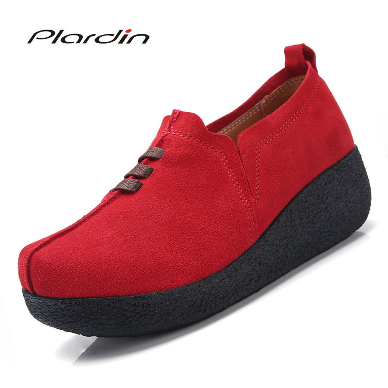 Plardin Plus Size 35-43 Women Flat Platform Coin Loafers   Suede     Leather   Slip On Ladies Spring Shoes Flats Women Creepers Sneakers