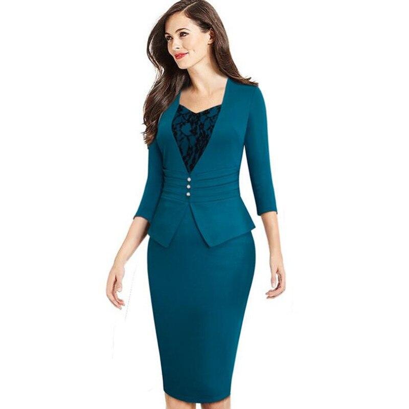 e240dd8e8dd7 Azul Bodycon Lápiz Vestido Piezas Dama borgoña Mujeres Delgado ...