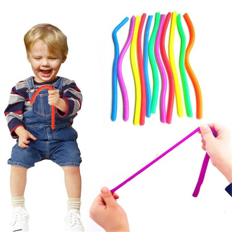 6Pcs Anti Stress Fidget Noodle Stretch/Pull/Twirl/Wrap/Squeeze Sensory Toy Kids Adult Party Favor Birthday Gift Pinata Filler