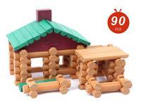 Trẻ em thương hiệu cabin bằng gỗ lắp ráp khối/trẻ em log rừng với tiếng Anh hướng dẫn biệt thự bằng gỗ búp bê nhà giáo dục đồ chơi
