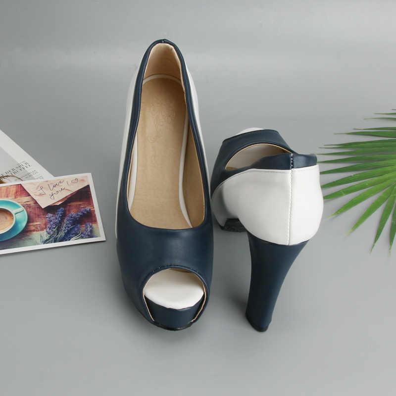 Meotina Yüksek Topuklu Ayakkabılar Kadın Platformu Spike Yüksek Topuk Ofis Bayan Ayakkabıları Karışık Renkler Peep Toe Pompaları Bahar Mavi Büyük boyutu 33-45