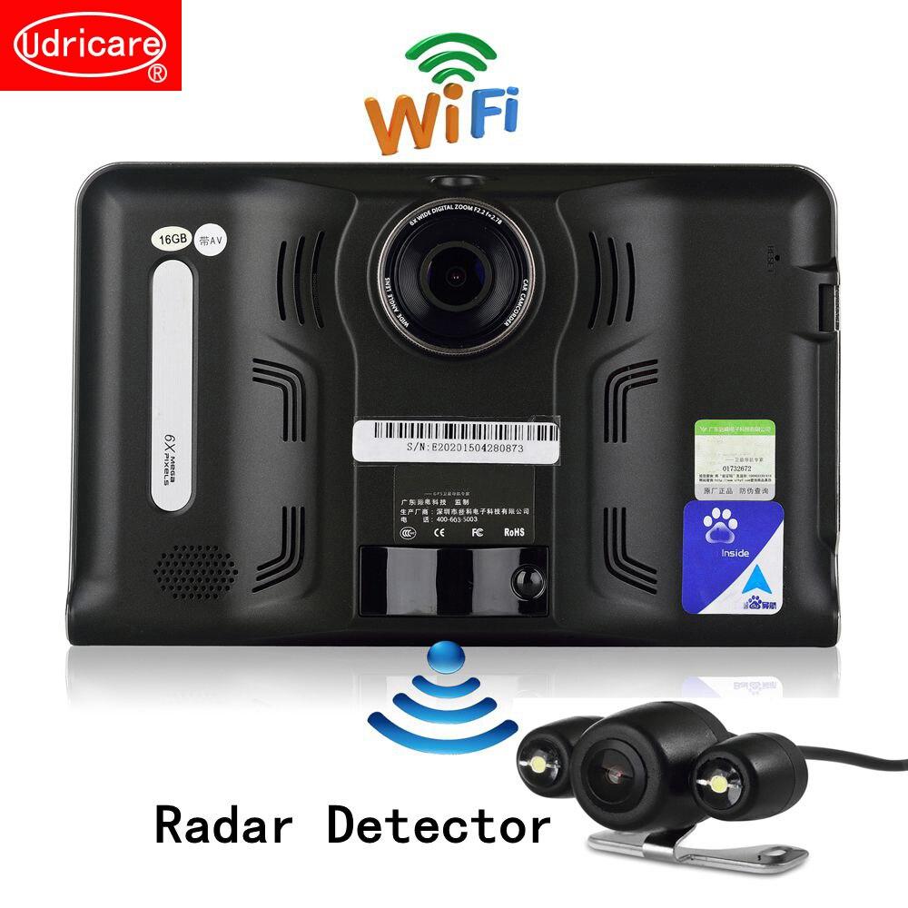 Udricare 7 pollice GPS del Android WiFi GPS di Navigazione DVR Videocamera 16 gb Rivelatore Del Radar Allwinner A33 Quad Core Videocamera vista posteriore GPS