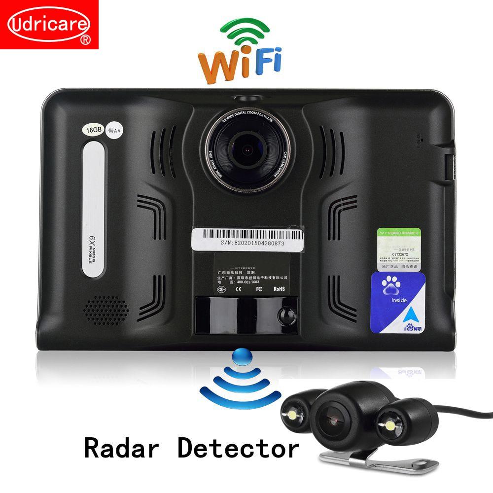 Udricare 7 pouce GPS Android WiFi GPS Navigation DVR Caméscope 16 gb Radar Détecteur Allwinner A33 Quad Core Arrière Vue caméra GPS