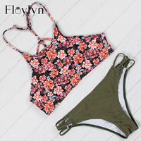 Floylyn 2017 Sexy High Neck Bikini Swimwear Women Swimsuit Bandage Crop Top Push Up Brazilian Bikini
