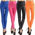 Sexy leggings de couro Imitação de cintura alta com zíper doces leggings de cores da moda grandes estaleiros pant