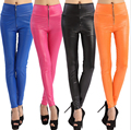 sexy leggings Imitation leather of tall waist zipper candy color leggings fashion big yards pant