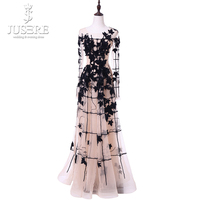 Jusere Real Photo Sexy Scoop Neck Semi A Line Black Lace Appliques Light Champagne Floor Prom Dress 2018 Long Sleeves Prom Gowns
