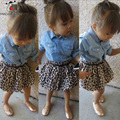 Autumn Girls Dress Long Sleeve Shirts Leopard Skirt And Sashes 3 Pcs Baby Girls Clothing Sets Fashion Kids Dresses For Girls