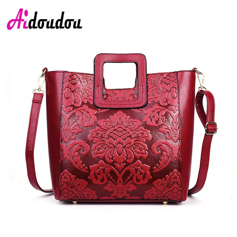 2018 New South Korea small fresh summer flower lady Shoulder Bag Handbag simple bag Pu leather