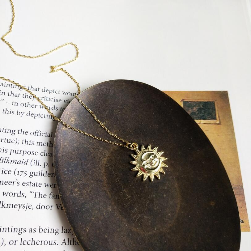 Hollow Sun Necklaces Pendants For Women Fashion 925 Sterling Silver Jewelry Gold Wedding Necklace Long Chain Collier Femme