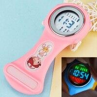 Cute Children Kids Pocket Watch Nurse Brooch Luminous Dial Clip-On Fob Lovely Digital Pin Hang Pocket Clock EL Backlight Watches