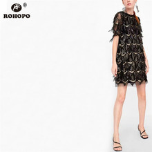 ROHOPO Women Double Layers Sequined Lace Dress Summer Sexy Holow Embroidery Mesh Party Knee Length Black Vestido #UK8646