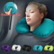 Almohada de viaje en forma de U para el cuello, almohada inflable de aire para coche, almohada para cuello, reposacabezas de viaje, plegable, portátil, accesorios para coche