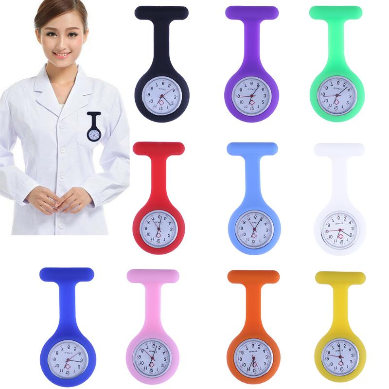 Fashion Nurses Watches Doctor Fob Watch Brooches Silicone Tunic Batteries Medical Nurse Women Watches Quartz With Clip Relogio