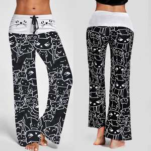 Woman Jeans Leggings Pants Prints Drawstring Casual New-Fashion Cat