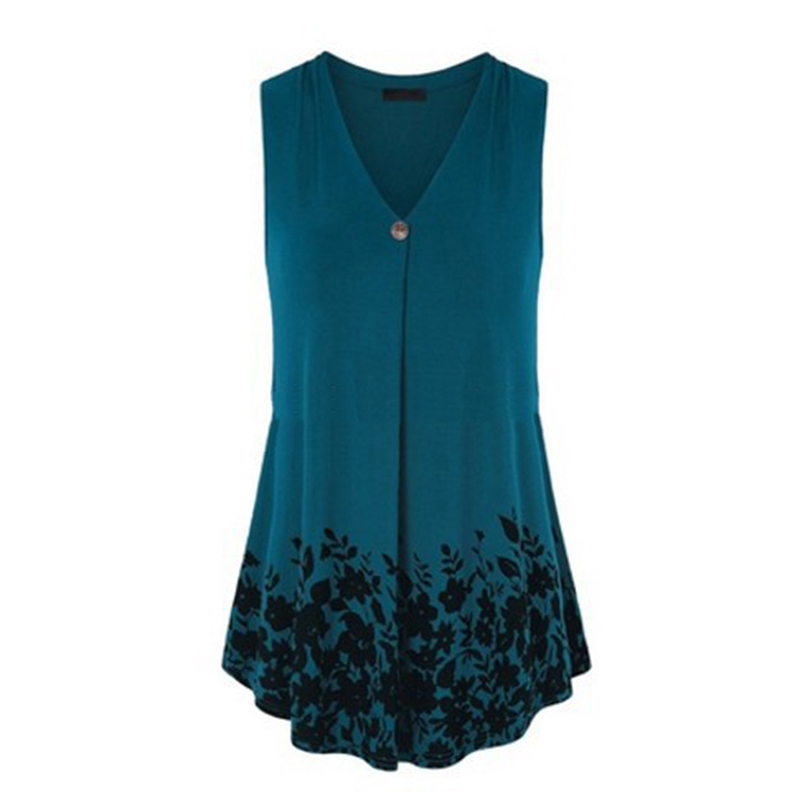 3f29b00ae Summer Women Tunic Tops Casual V-neck Sleeveless Print Large Swing Blouses  Loose Plus Size