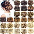 Women Wave Curly Easy Clip In Big Hair Bun Chignon With Two Plastic Comb Elastic Net Updo Cover Synthetic Hair Pieces 100g/pc Q8