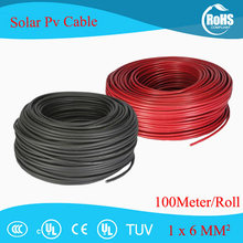 100 Meter/Roll 6mm2 (10AWG) solar Kabel Rood of Zwart Pv Kabel Draad Koperen Geleider XLPE Jas TUV Certifiction(China)