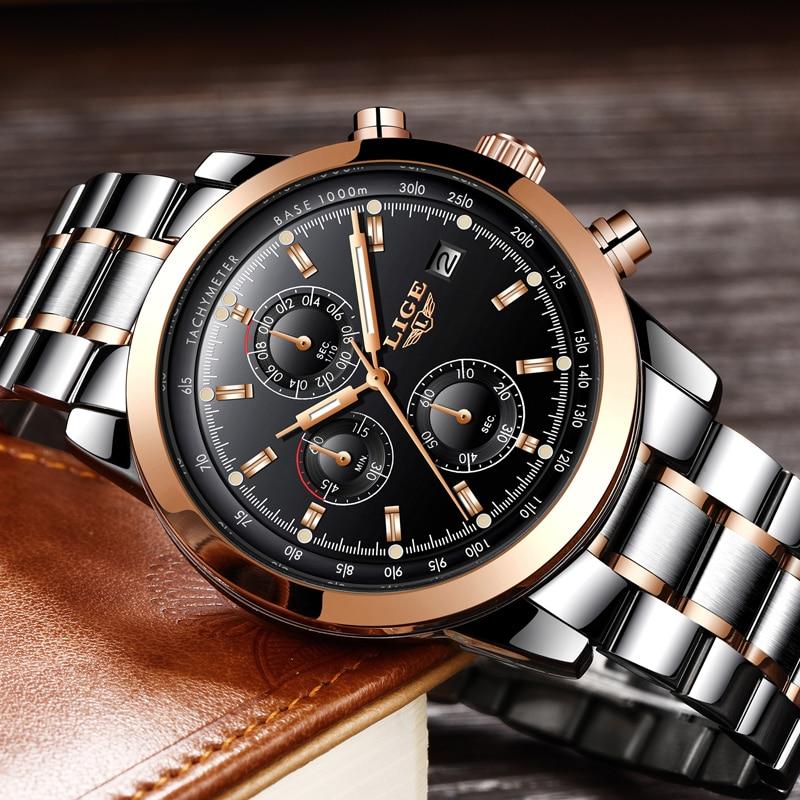Muži hodinky Nejlepší luxusní značky LIGE Pánské vodotěsné sportovní ... d6f689d10e