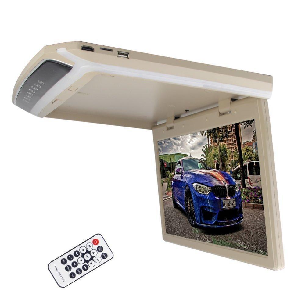 15.6 inch Overhead Player Roof Mount Display Digital Screen Flip Down Monitor for cars USB/SD/AV input FM Transmit LED Lights