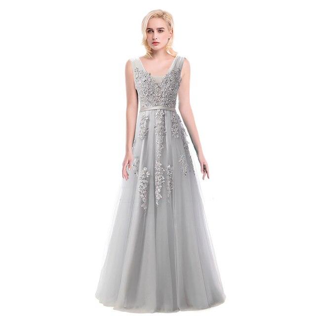 Barato Applique Frisado Tule vestido de Noite Formal Do Partido Vestidos Vestido De Festa Longo Vestidos de Baile 2017