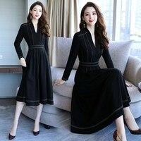 Black Plus Size 4xl Midi Dress Vestido De Festa Stylish Dress Elegant Vestidos Office Work Dress Women Ukraine Robe Femme