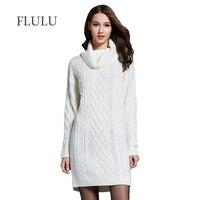 FLULU Winter Sweater Women Dress 2018 Solid Turtleneck Sweater Warm Oversize Long Sleeve Sweater Dress Casual Knitted Sweater