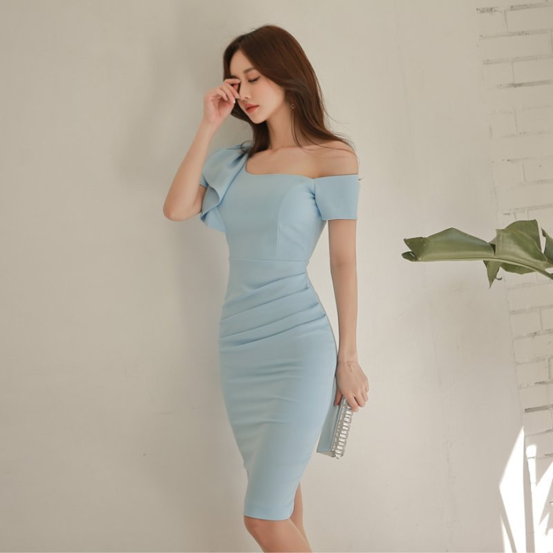 2019 Summer Women Sexy Ruffle Dress Elegant Slash Neck Pencil Dresses Sky Blue Party Dress in Dresses from Women 39 s Clothing