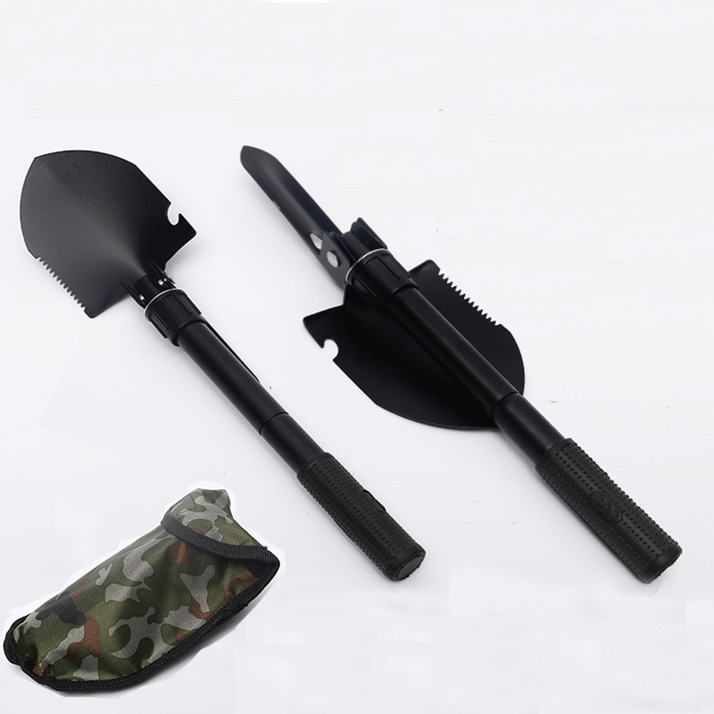 2017 Multifunctional Chinese Military Folding Portable Shovel Hoe for Ice Fishing Garden Camping Hunting Outdoor Survival Tool military type stainless steel folding shovel camping tool black size l