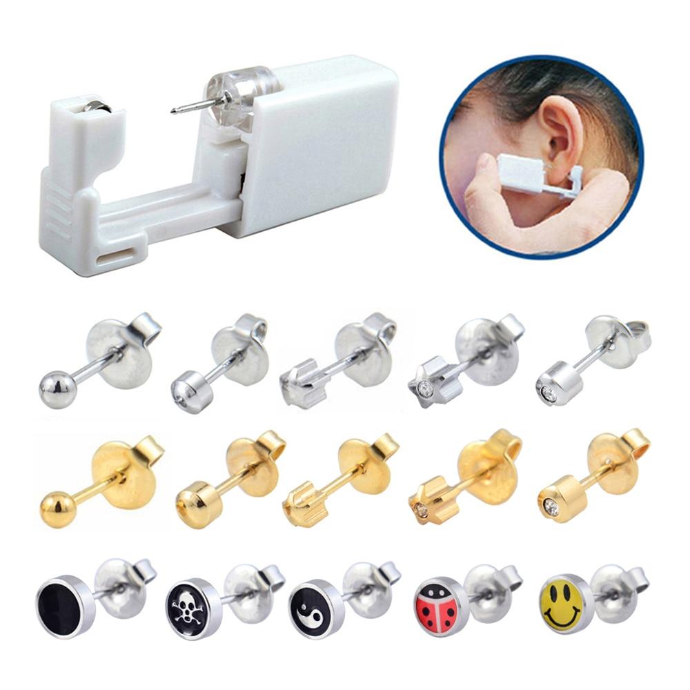 1 Unit Hot Sale Disposable Safe Sterile Ear Piercing Unit Nose Ring Earring Stud Piercing Gun Piercer Tool Machine Kit Stud