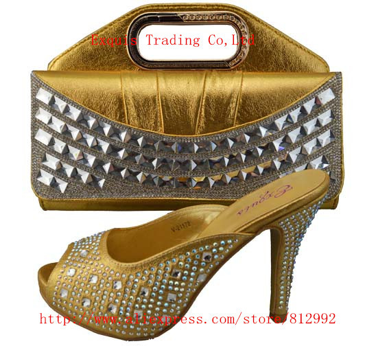ФОТО FREE SHIPPING BY DHL.!!! 2014 New arrival italy shoes and matching bag set for party 1308-403 Size 38.39.40.41.42 gold color