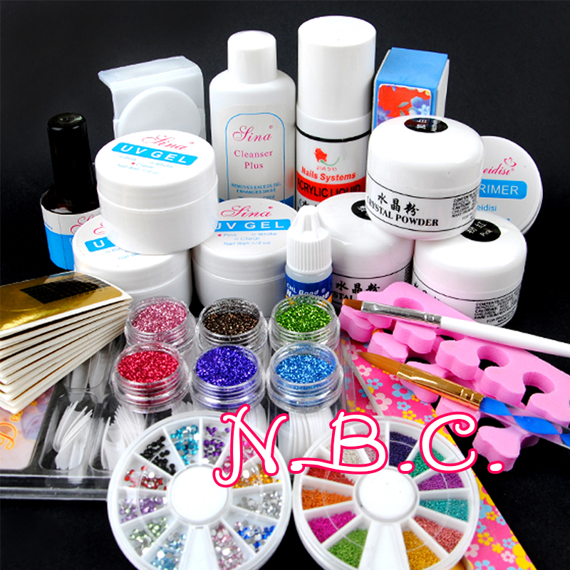 1 set acrylic power uv gel nail art decorations brush set for Acrylic nail decoration supplies