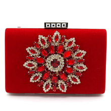 Floral Diamonds Women Evening Clutch Bag Chain Purse Luxury Vintage Wedding Party Bridal Bags Large-Screen Cell Phone Pouch