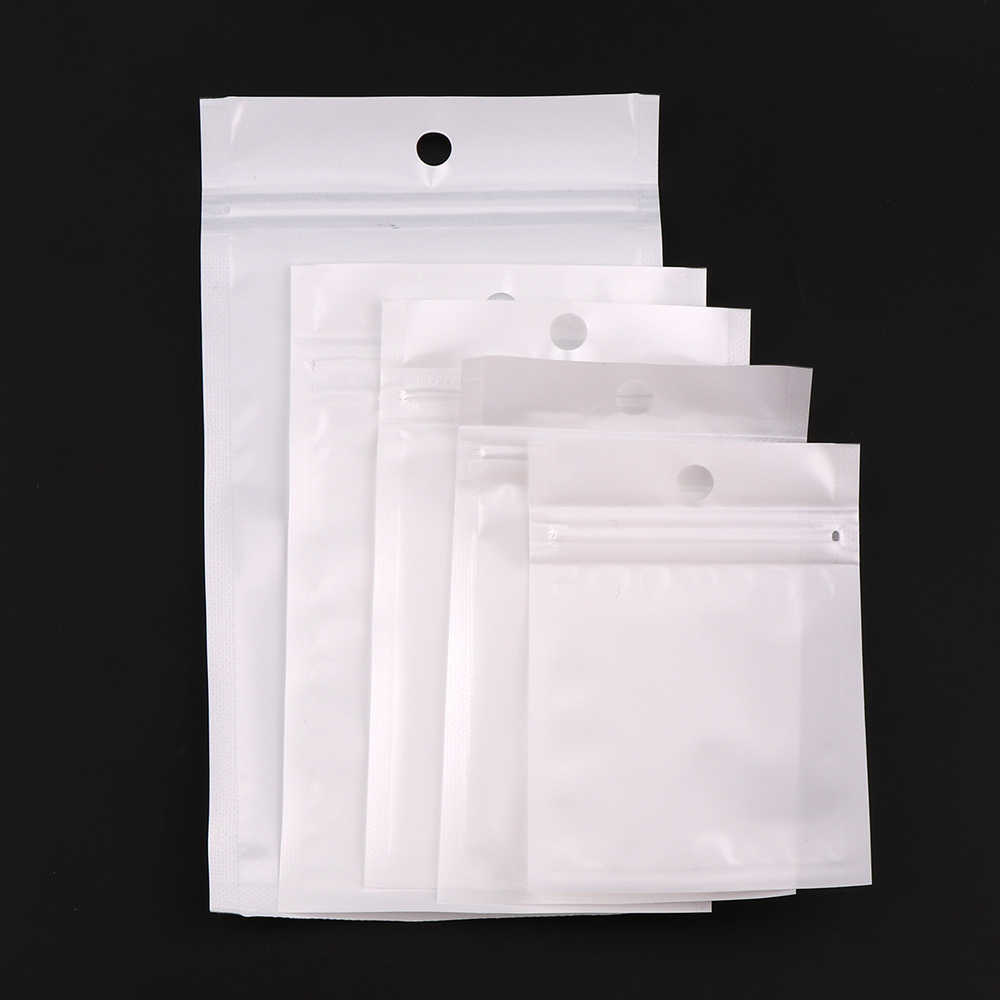 5 Size White/Clear Self Seal Zipper Plastic Retail Packaging Pack Poly Bag Ziplock Zip Lock Storage Bag Package With Hang Hole