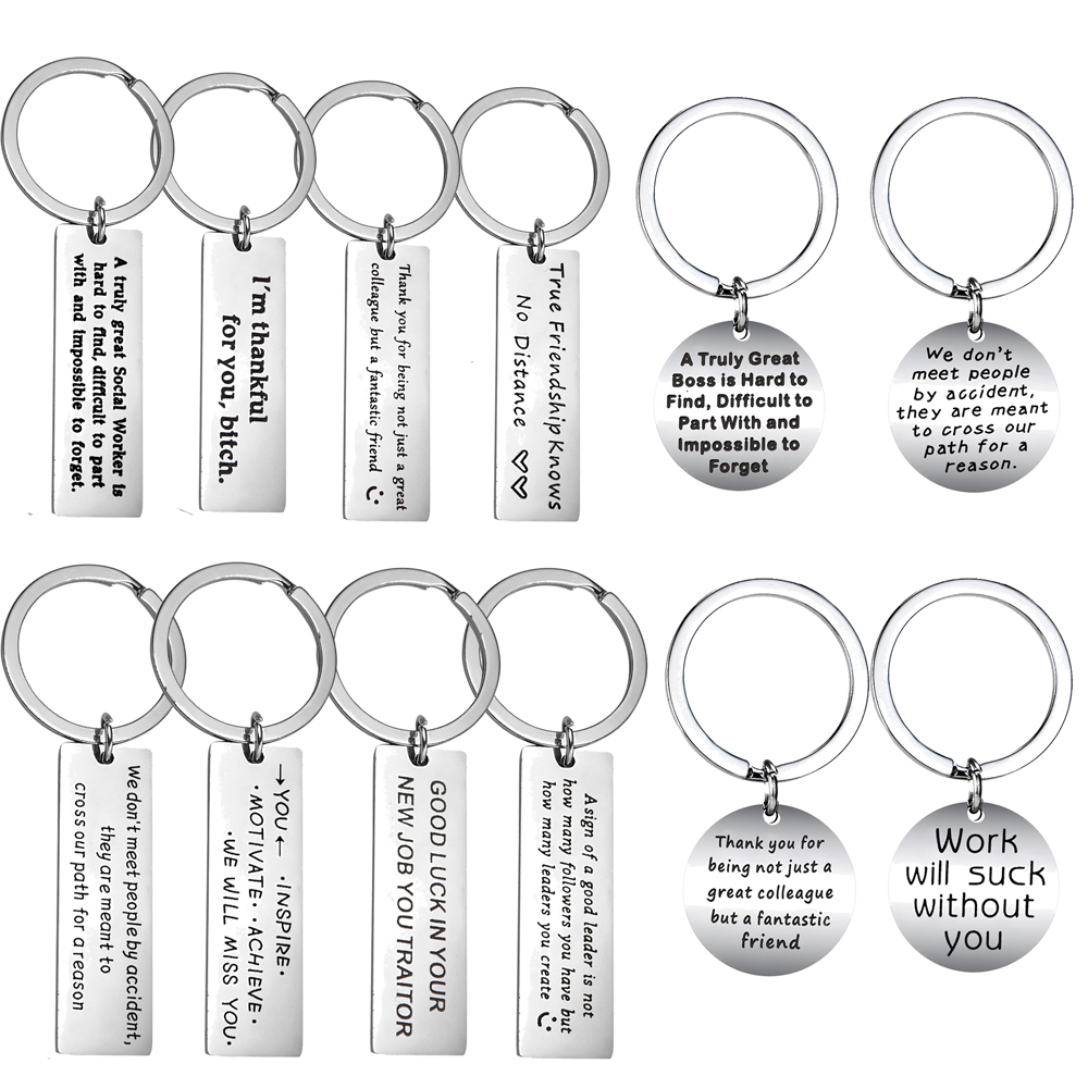 Stainless Steel Coworker Leaving Gift Keychain Colleague Gift Appreciation Gift Thank You Gifts Best Friend Friendship Jewelry