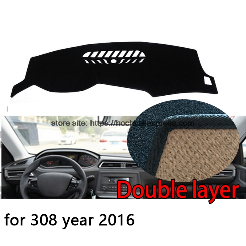 For Peugeot 308 308s 301 Double layer Silica gel Car Dashboard Pad Instrument Platform Desk Avoid Light Mats Cover Sticker for toyota crown 2004 2016 double layer silica gel car dashboard pad instrument platform desk avoid light mats cover sticker