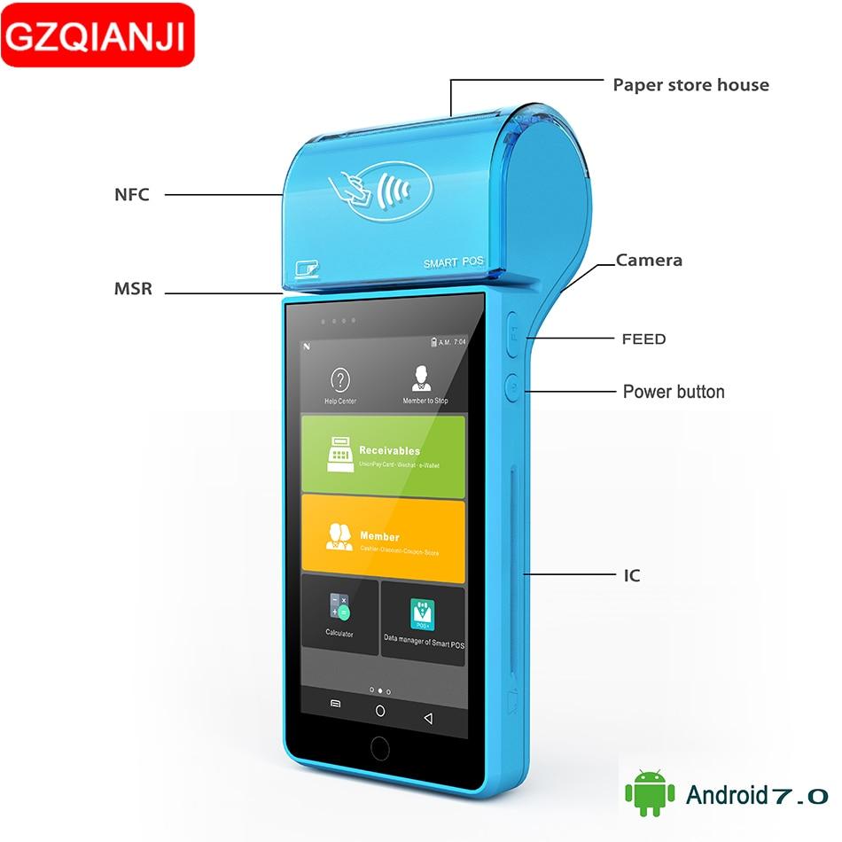 SDK gratuito Palmare mobile pos lettore di 1D 2D di Terminali Pos termica ricevere stampante wifi scanner di codici a barre palmare terminale Android 7.0 PDA