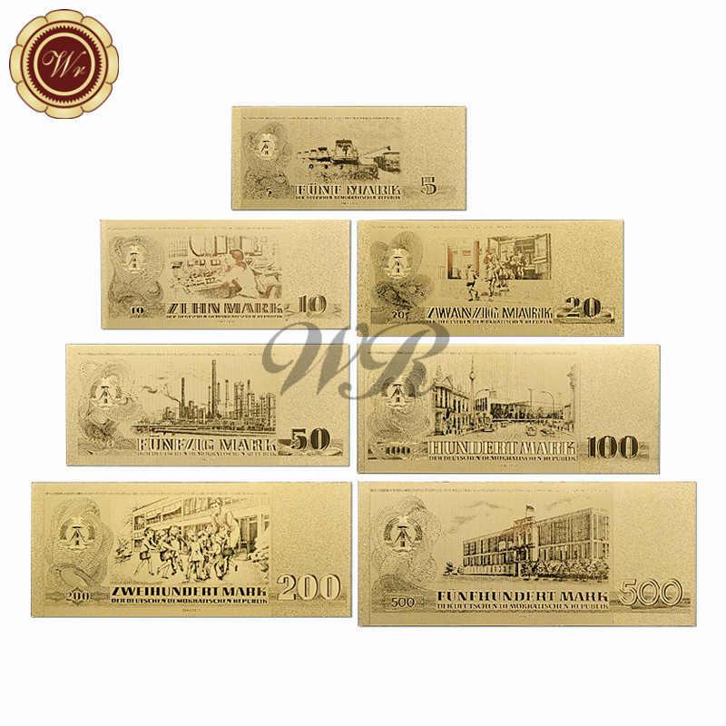 Золотая банкнота 1985 год полный набор Германия 5,10, 20,50, 100200500 Металл чистая позолоченная банкнота для коллекционных подарков
