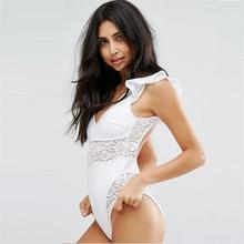 Sexy black white transparent lace chiffon One Piece Swimsuit elegance Ruffled side Swimwear Bodysuit Monokini Women Bathing Suit