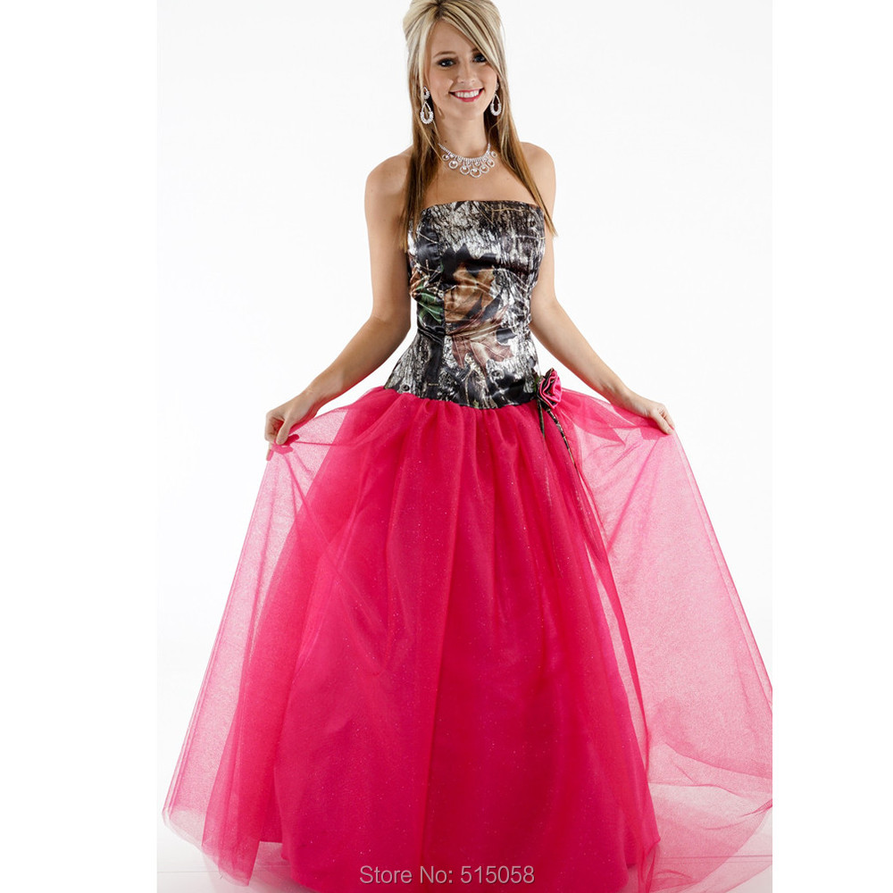 Princess Style Wedding Gowns: Fuchsia Tulle Princess Style Camo Wedding Dresses Hippies