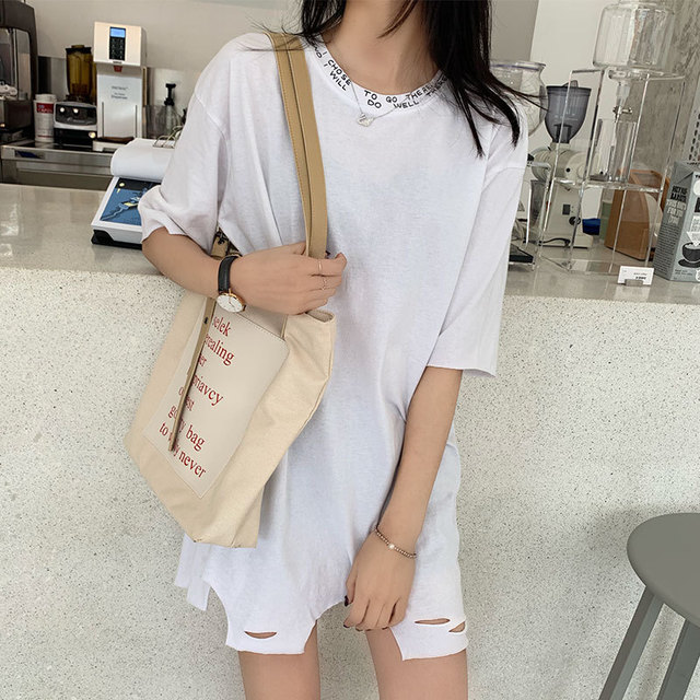 Summer ladies loose casual tide brand short sleeved T shirt Korean cotton straight type solid color shirt in T Shirts from Women 39 s Clothing
