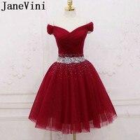 JaneVini/2019, Бордовое платье с бусинами короткое для выпускного вечера с кристаллами, Тюлевое платье с открытыми плечами, блестящее ТРАПЕЦИЕВИД