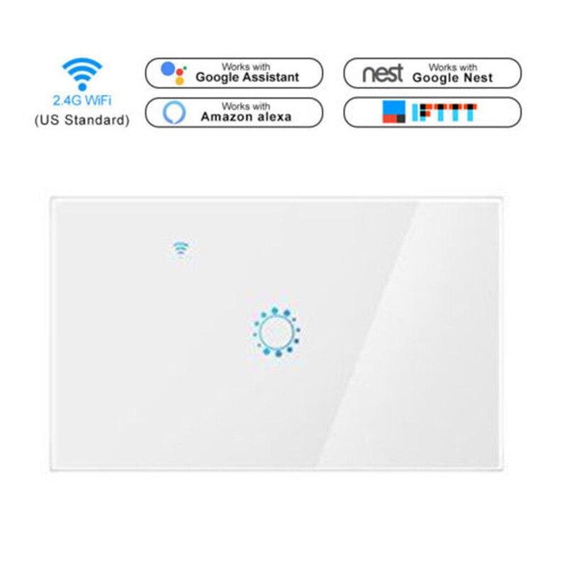 Travailler avec Amazon Alexa et Google accueil interrupteur d'éclairage mural WiFi commutateur app contrôle tactile panneau en verre switch1 gang pour la maison intelligente