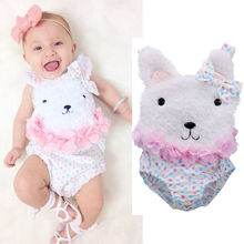 Bow Flower Bodysuit Jumpsuit Outfits Baby Girl Tops Cute Newborn Baby Girls Clothes Bodysuits Flower Polka Dot Sleeveless Bunny