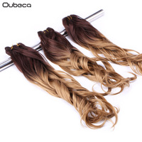 OUBECA 3pcs Pack Women S Ombre Natural Wave Hair Weaving High Temperature Fiber Synthetic Hair Curly