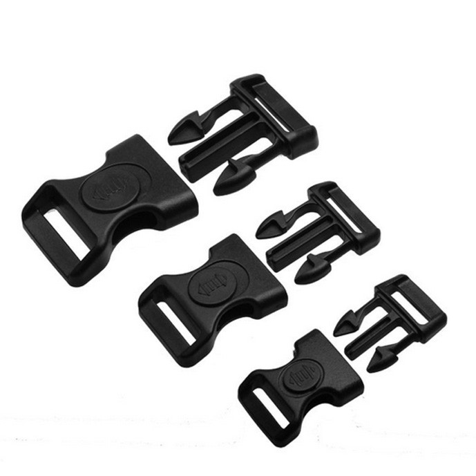 10pcs 15mm 20mm 25mm Plastic Black Curved Buckle Wlock For Paracord