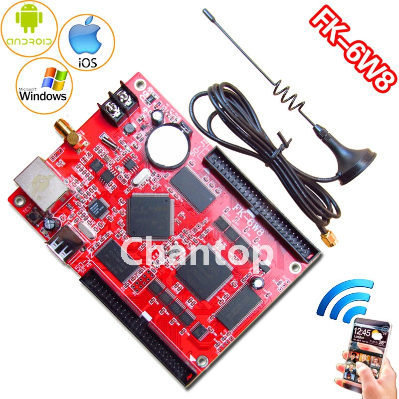 FK-6W8 wifi led control card network/USB PC/pad/Phone APP wireless full color p10,p13.33,p16,p4.75 display led controller board fk cx5 rj45 netwok and usb led control card 2408 48pixels support single