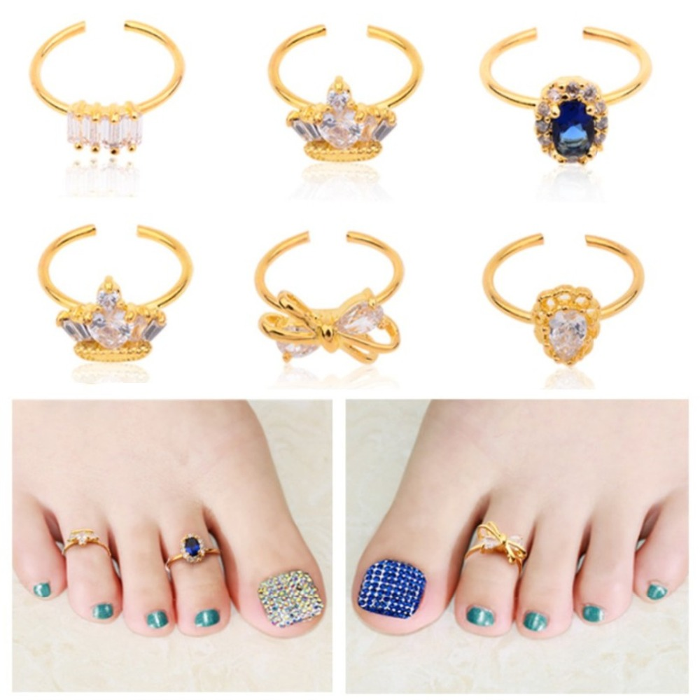 Gold toe rings for women - New Women Adjustable Nail Toe Gold Alloy Rings Crystal Rhinestone Charm Crown Bow Design Nail Art Jewelry Decoration Tools