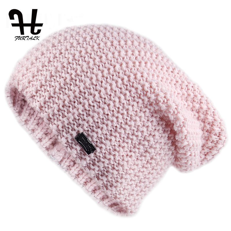 Furtalk Knitted Beanie Hat For Women Autumn Winter Soft Warm Wool Skullies Hats Girls Pink Knitted Hats Female Bonnet Cap 2019